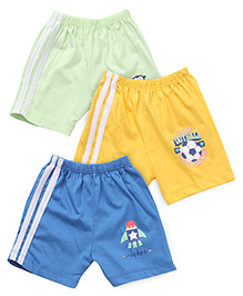 Tango Shorts Printed Pack Of 3 - Green Yellow Blue
