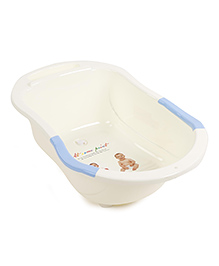 Baby Bath Tub At Same Paint Print - Cream Blue