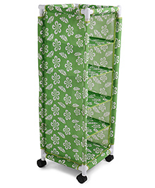 5 Shelves Storage Unit Flower Print - Green