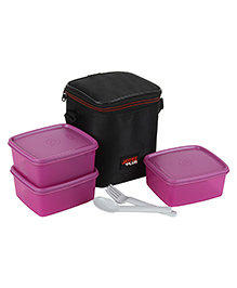 Jaypee Wonder Bag Lunch Box Container Set Of 3 With Carry Case Pink - 1800 Ml