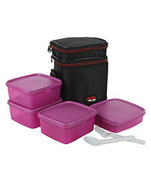 Jaypee Wonder Bag Lunch Box Container Set Of 4 With Carry Case Pink - 2250 Ml