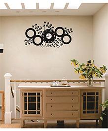 Syga Black Circles Clock Wall Sticker - Black