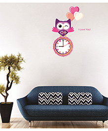 Syga Owl Wall Clock Sticker - Multi Color