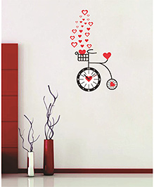 Syga Cycle & Clock Wall Sticker - Red Black