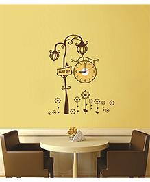 Syga Royal Lamp Wall Sticker Clock Design - Brown