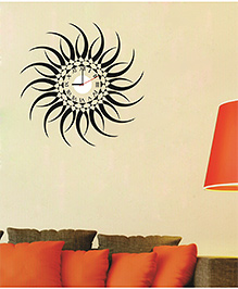 Syga Sun Design Clock Wall Sticker - Black