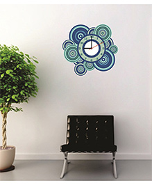 Syga Royal Circles Clock Design Wall Sticker - Blue