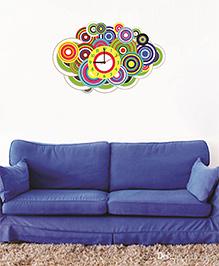 Syga Circle Clock Design Wall Sticker - Multi Color