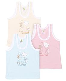 Cucumber Sleeveless Vests Bear Printed Pack Of 3 - Pink Aqua Lemon