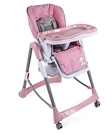 Baby High Chair With Wheels - Pink