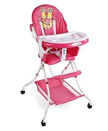 High Chair Giraffe Print - Pink White