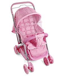 Baby Stroller Cum Pram Leaf Print - Pink