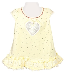 Teddy - Short Sleeves Frock With Heart Print