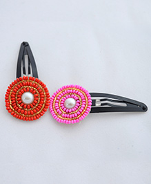 Pretty Ponytails Bead Pearl Ethnic Flower Clip Set Of 2 - Red & Pink
