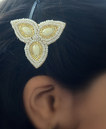 Pretty Ponytails Bead Pearl Diamond Ethnic Flower Clip - White And Gold