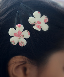 Pretty Ponytails Printed Rose Flower Clip - White And Pink