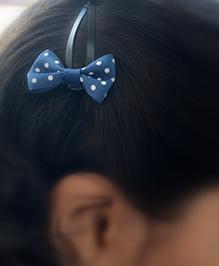 Pretty Ponytails Polka Dot Bow Clip - White And Navy Blue