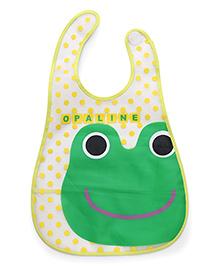 Babyhug Baby Bibs Frog Print - Green Yellow