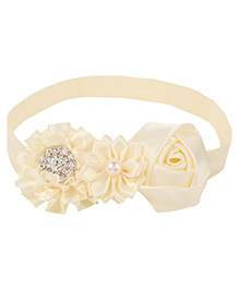 Baby Angel Floral Headband With Pearl - Cream