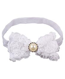 Baby Angel Pearl Center Rosette Bows Headband- White