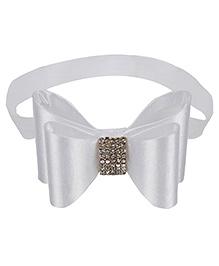 Baby Angel Rhinestone Bow Headband For Girl - White