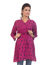 Kriti Three Fourth Sleeves Maternity Nursing Tunic Top Floral Print - Purple