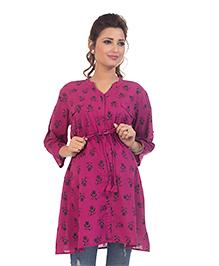 Kriti Three Fourth Sleeves Maternity Nursing Tunic Top Floral Print - Purple