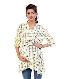Kriti Three Fourth Sleeves Maternity Nursing Tunic Top Check Print - Cream