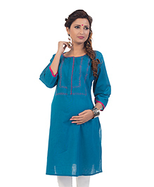 Kriti Three Fourth Sleeves Maternity Kurta - Blue