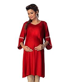 Kriti Three Fourth Sleeves Maternity Nursing Kurta - Red