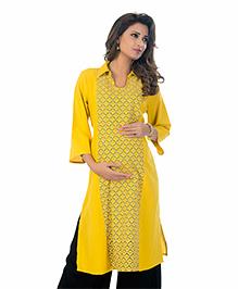 Kriti Three Fourth Sleeves Maternity Nursing Kurta - Yellow