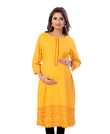 Kriti Three Fourth Sleeves Maternity Nursing Kurta - Mustard Yellow