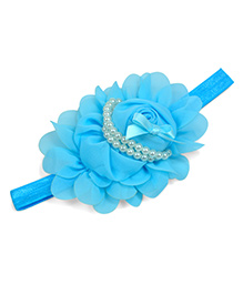 Little Miss Cuttie Pear Design Pearl Applique Headband - Light Blue