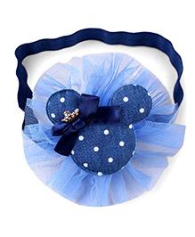 Little Miss Cuttie Polka Dot Cartoon Design Headband - Navy Blue