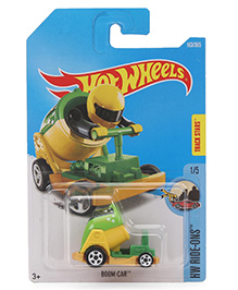 Hot Wheels Die Cast Ride Ons Boom Toy Car - Green And Yellow