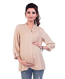 Kriti Three Fourth Sleeves Maternity Top - Beige
