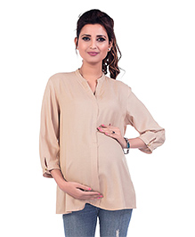 Kriti Three Fourth Sleeves Maternity Top - Beige