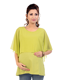 Kriti Three Fourth Sleeves Maternity Layered Top - Light Green