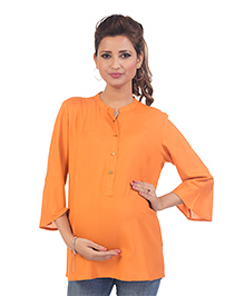 Kriti Three Fourth Sleeves Maternity Top - Orange