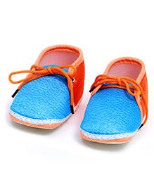 Soft Tots Shining Booties - Blue & Orange