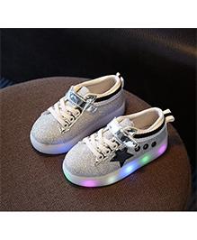 Wonderland Glittery Star Design LED Shoes - Silver & Black