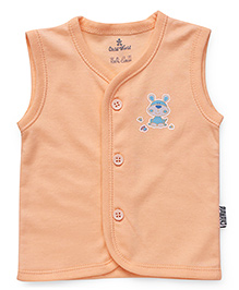 Child World Sleeveless Vest Animal Print - Peach