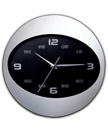 Ez Life Chic Aluminium Oval Clock - Black & Silver
