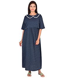 9teenAGAIN Half Sleeves Maternity Nursing Dotted Nightdress - Blue