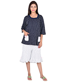 9teenAGAIN Three Fourth Sleeves Maternity Nursing Top And Three Fourth Bottoms - Blue White