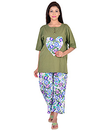 9teenAGAIN Half Sleeves Maternity Nursing Top And Pajama - Green White