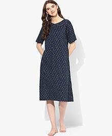 9teenAGAIN Half Sleeves Maternity Nursing Top And Pajama - Orange Blue