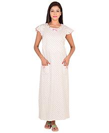 9teenAGAIN Short Sleeves Maternity Nursing Nighty - Off White