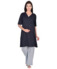 9teenAGAIN Half Sleeves Maternity Nursing Top And Pajama - Black