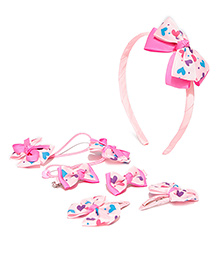 Golden Peacock Printed & Bow Applique Hair Accessory Set - Light Pink